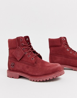 Timberland 6 Inch Premium dark red leather lace up flat boots