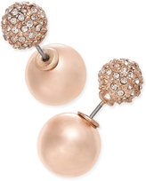 Charter Club Rose Gold-Tone or Silver-Tone Pavé Imitation Pearl Front and Back Earrings, Only at Macy's
