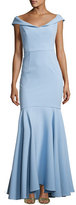 Milly Layla Stretch Crepe Mermaid Gown, Blue