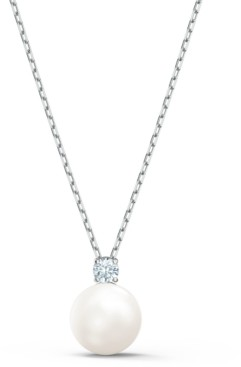 "Swarovski Silver-Tone Crystal & Imitation Pearl Pendant Necklace, 14-7/8"" + 2"" extender"