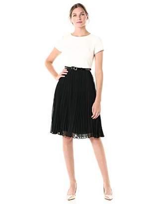 Adrianna Papell Women's Pleated Skirt T-Shirt Dress