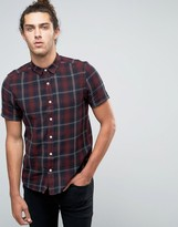 Asos Check Shirt With Pigment Dye In Red In Regular Fit With Short Sleeves