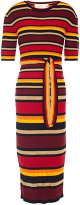 Victoria Victoria Beckham Belted Striped Ribbed Wool-blend Midi Dress