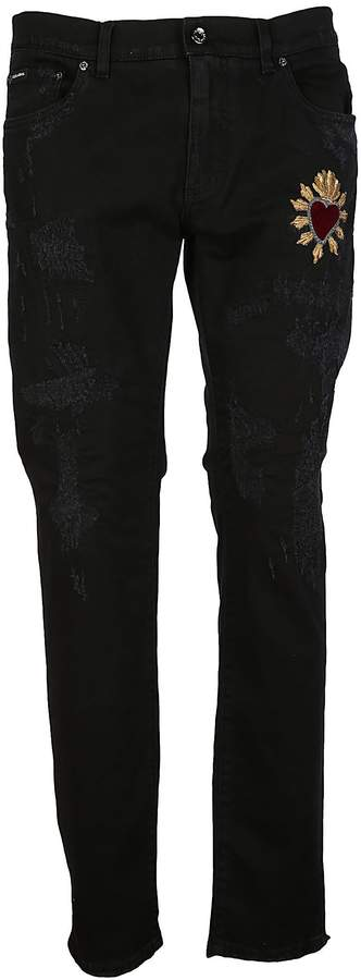 Dolce & Gabbana Dolce Gabbana Heart Applique Jeans