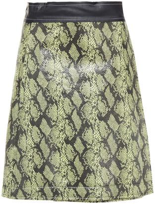 Stand Studio Elene Faux Snake-effect Leather Wrap Skirt