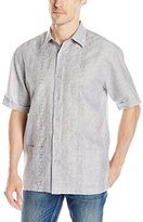 Cubavera Men's Short Sleeve Double Embroidered Woven Shirt