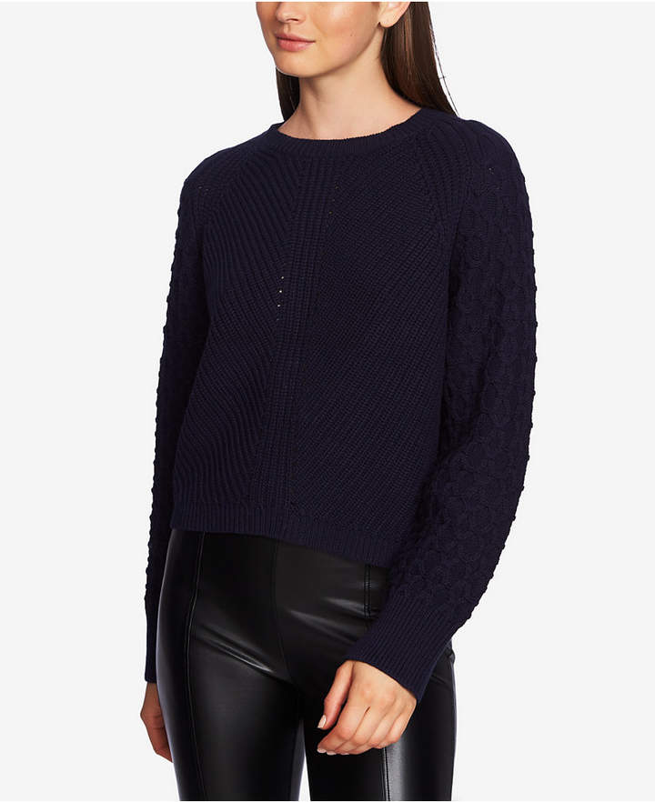1.state Cotton Crewneck Textured-Sleeve Sweater