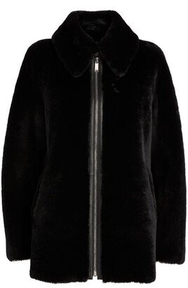Claudie Pierlot Reversible Leather Zip-Up Coat