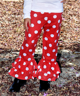 Beary Basics Red Polka Dot Ruffle Pants - Infant Toddler & Girls