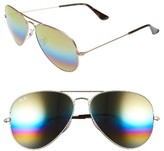 Ray-Ban Women's Standard Icons 58Mm Mirrored Rainbow Aviator Sunglasses - Blue Multi Rainbow