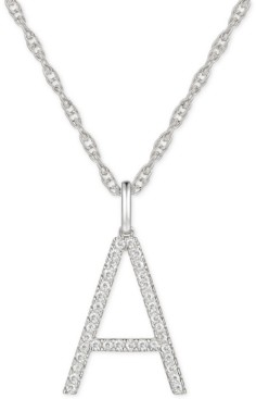 """Macy's Diamond Initial 18"""" Pendant Necklace (1/6 to 1/3 ct. t.w.) in 14k White Gold"""