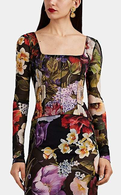 Dolce & Gabbana Women's Floral Stretch-Silk Georgette Fitted Blouse - Black