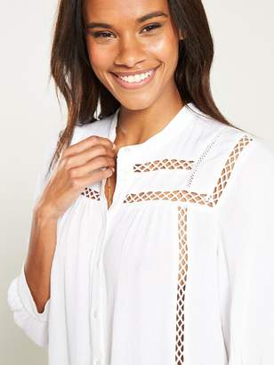 Very Long Sleeve Lace Insert Blouse - Ivory