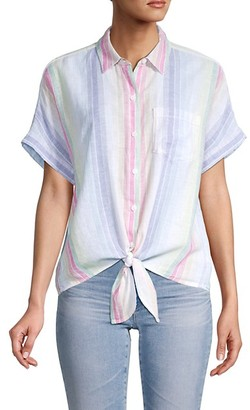 BeachLunchLounge Striped Tie-Waist Shirt