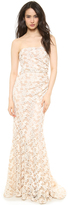 Badgley Mischka Collection Lace Side Pleated Gown