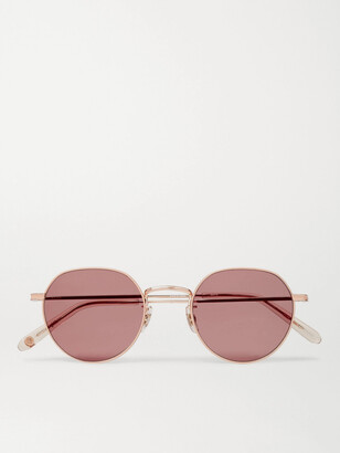 Garrett Leight California Optical Robson Round-Frame Rose Gold-Tone Stainless Steel Sunglasses