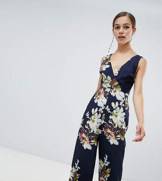 Hope & Ivy Petite Hope and Ivy Petite floral wide leg jumpsuit-Navy