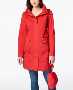 Cole Haan Petite Packable Hooded Water-Resistant Raincoat