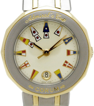 Corum Ivory 18K Yellow Gold and Stainless Steel Admirals Cup Women's Wristwatch 27MM