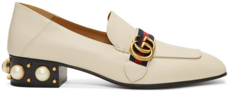 Gucci White Peyton Pearl Loafer Heels