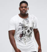 Religion PLUS Longline T-Shirt With Smoke Skull Print