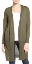 Petite Women's Halogen Long Linen Blend Cardigan