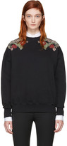 Alexander McQueen Black Embroidered Sweatshirt