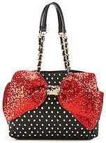 Betsey Johnson Bow-Lesque Sequined Dotted Satchel