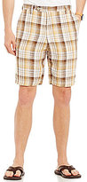 Tommy Bahama Island Duo Flat-Front Plaid Reversible Linen Shorts