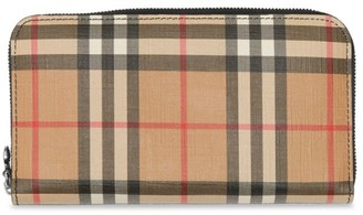 Burberry Elmore Vintage Check Zip-Around Wallet