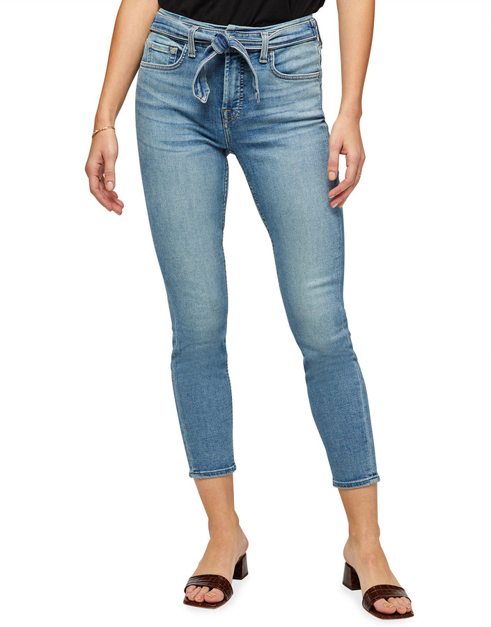 Thumbnail for your product : Jen7 Tie-Front Ankle Skinny Jeans