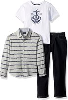 Nautica Toddler Boys Long Sleeve Button Up Shirt, Tee and Pull On Denim Pant Set