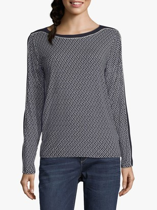Betty Barclay Spot Print Long Sleeve Jersey Top, Blue/Silver