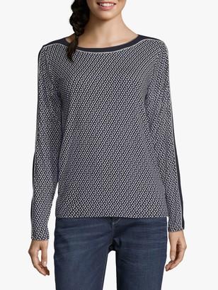 Betty & Co. Spot Print Long Sleeve Jersey Top, Blue/Silver