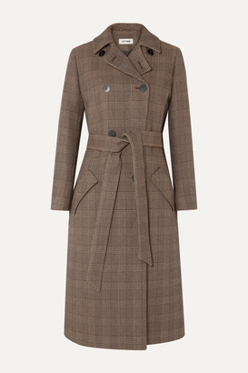 Cefinn - Sullivan Belted Prince Of Wales Checked Cotton-blend Trench Coat - Brown