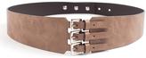Luana Beige Leather Triple Buckle Belt