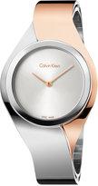 Calvin Klein Women's Swiss Senses Two-Tone Stainless Steel Bangle Bracelet Watch 27mm K5N2M1Z6