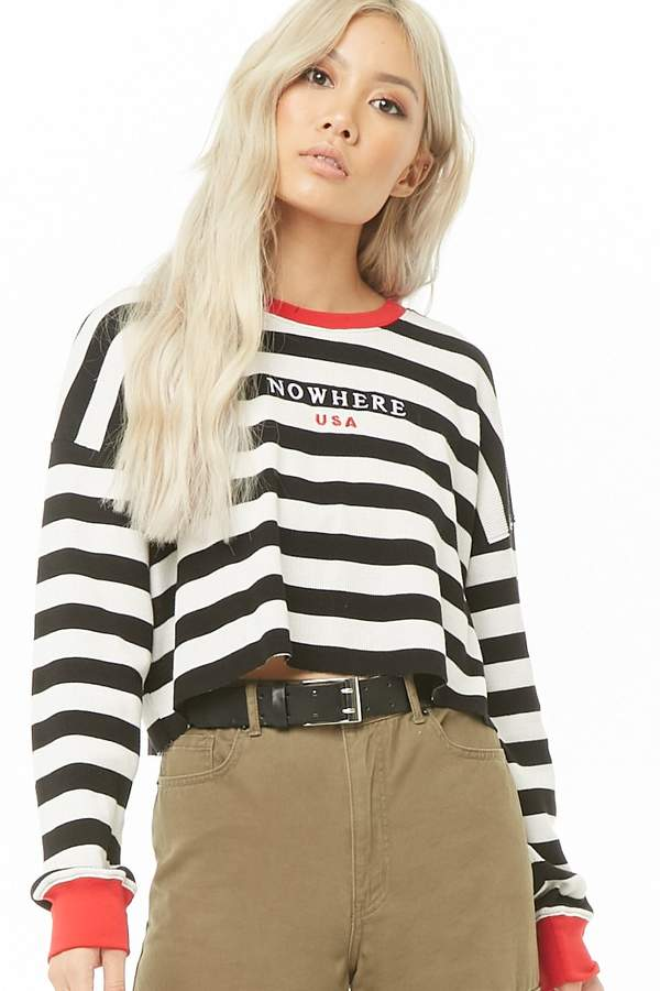 Forever 21 Striped Nowhere USA Graphic Top