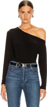 Norma Kamali Long Sleeve Drop Shoulder Top in Black | FWRD
