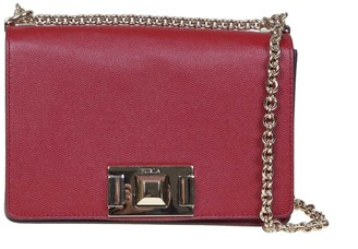 Furla Mimi mini Shoulder Strap In Cherry Color Leather