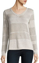 Democracy Open-Knit Striped Sweater