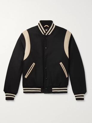 GoldenBear Golden Bear - The Hayes Leather-panelled Wool-blend Bomber Jacket - Black