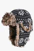 Boohoo Fairisle Fur Lined Trapper