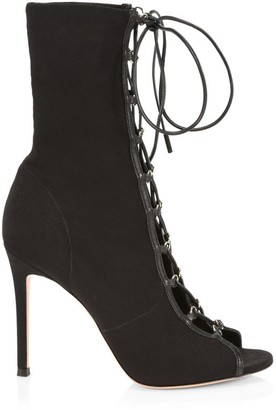 Gianvito Rossi Lenoir Lace-Up Peep-Toe Booties