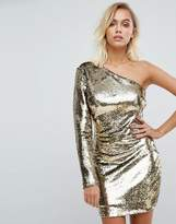 Fashion Union One Shoulder Dress In Gold Sequin