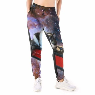 DOWNN Women's Sweatpants Space Cat Stars Musical Instruments Funky Trousers Jogger Pants with Drawstring 3D Sports Leggings White