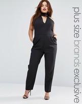 Lavish Alice Plus Halter Neck Tailored Jumpsuit