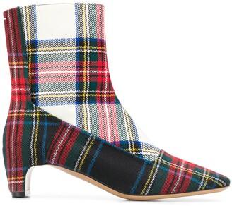 Maison Margiela Tartan Print Ankle Boots
