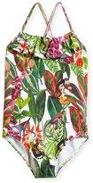 Oscar de la Renta Jungle Monkeys Ruffle One-Piece Swimsuit, Size 2-14