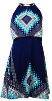 Jessica Simpson Women's Halter Printed Fit and Flare Dress